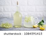 homemade elderflower  syrup... | Shutterstock . vector #1084591415
