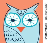 owl portrait in glasses hand... | Shutterstock . vector #1084592339