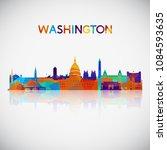 washington skyline silhouette... | Shutterstock .eps vector #1084593635
