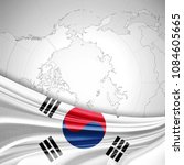 south korea flag of silk and... | Shutterstock . vector #1084605665