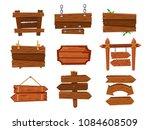 empty vintage cartoon wood sign ... | Shutterstock .eps vector #1084608509