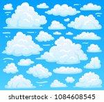 cartoon fluffy cloud at azure... | Shutterstock .eps vector #1084608545