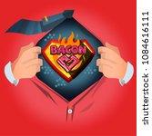 "man open shirt to show ""bacon""... | Shutterstock .eps vector #1084616111"