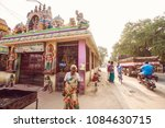 Small photo of Arunachala, Tiruvannamalai / Tamil Nadu / India, January 22, 2018: Krishna temple next to Sri Ramana Maharshi Ashram