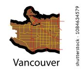 vancouver city plan  detailed... | Shutterstock .eps vector #1084634579