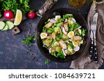 dietary salad with mussels ... | Shutterstock . vector #1084639721
