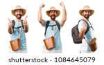 set of lucky funny tourist | Shutterstock . vector #1084645079