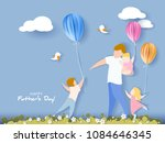handsome man with his children... | Shutterstock .eps vector #1084646345