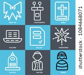 set of 9 simple editable icons... | Shutterstock .eps vector #1084668071