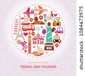 travel and tourism vector... | Shutterstock .eps vector #1084673975