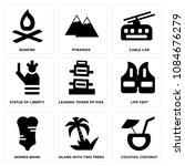 set of 9 simple editable icons... | Shutterstock .eps vector #1084676279