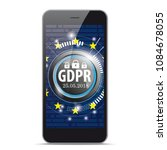 smartphone with the button gdpr ... | Shutterstock .eps vector #1084678055