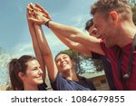 circle of happy sportive young... | Shutterstock . vector #1084679855
