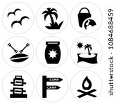 set of 9 simple editable icons... | Shutterstock .eps vector #1084688459