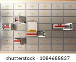 bank safe open cell with gold... | Shutterstock . vector #1084688837
