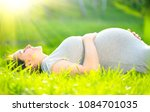 pregnant happy woman touching... | Shutterstock . vector #1084701035
