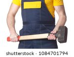 a manual worker with a... | Shutterstock . vector #1084701794