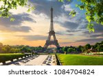 paris with eiffel tower in... | Shutterstock . vector #1084704824