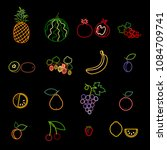 set of fruit and berry line...   Shutterstock .eps vector #1084709741