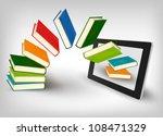 books flying in a tablet.... | Shutterstock .eps vector #108471329