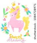 cute vector happy birthday card ... | Shutterstock .eps vector #1084728971