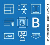 outline set of 9 word icons... | Shutterstock .eps vector #1084729145