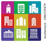 filled set of 9 apartment icons ... | Shutterstock .eps vector #1084729379