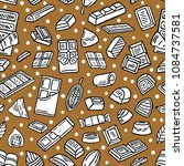 chocolate doodle seamless... | Shutterstock .eps vector #1084737581
