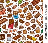 chocolate doodle seamless... | Shutterstock .eps vector #1084737584