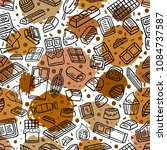 chocolate doodle seamless... | Shutterstock .eps vector #1084737587