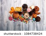 unhealthy products. food bad... | Shutterstock . vector #1084738424