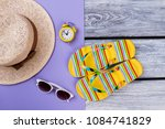 beach items for resort flat lay.... | Shutterstock . vector #1084741829