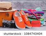 travel and rest outfit concept. ... | Shutterstock . vector #1084743404