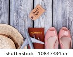 summer women clothes and travel ... | Shutterstock . vector #1084743455