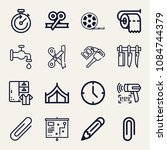 set of 16 tool outline icons... | Shutterstock .eps vector #1084744379