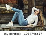 a girl with long hair in a... | Shutterstock . vector #1084746617