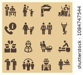 set of 16 people filled icons...   Shutterstock .eps vector #1084747544
