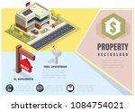 house with a sign for sale ... | Shutterstock .eps vector #1084754021