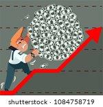 a businessman rolls money with... | Shutterstock .eps vector #1084758719