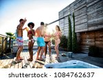 multi ethnic group of friends... | Shutterstock . vector #1084762637