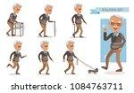 elderly man walking set... | Shutterstock .eps vector #1084763711