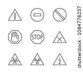 warning set icon vector. line...