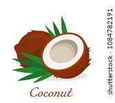 cut and whole coconut with palm ... | Shutterstock .eps vector #1084782191