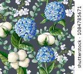 seamless pattern with hydrangea ... | Shutterstock .eps vector #1084785671