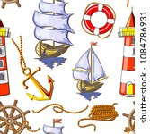 nautical seamless pattern... | Shutterstock .eps vector #1084786931