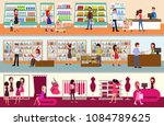 people shopping at the mall....   Shutterstock .eps vector #1084789625