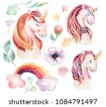 isolated cute watercolor... | Shutterstock . vector #1084791497