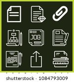 set of 9 document outline icons ... | Shutterstock .eps vector #1084793009