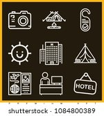 set of 9 holidays outline icons ...   Shutterstock .eps vector #1084800389