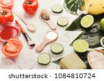 tomato face mask and cucumber... | Shutterstock . vector #1084810724